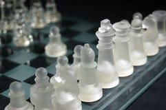 Insieme di scacchi di vetro Fotografie Stock
