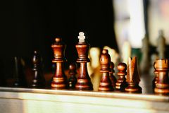 Insieme di scacchi di legno Fotografia Stock