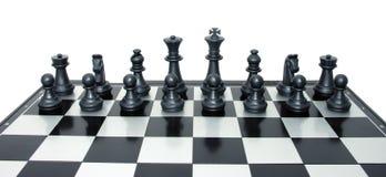 Insieme di scacchi neri pronto a combattere Fotografia Stock Libera da Diritti