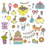 Insieme di scarabocchio di colore di buon compleanno Illustrazione disegnata a mano di vettore Festa della casa di giorno di nasc illustrazione di stock