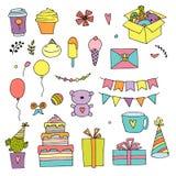 Insieme di scarabocchio di colore di buon compleanno Illustrazione disegnata a mano di vettore Festa della casa di giorno di nasc royalty illustrazione gratis