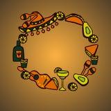 Insieme di scarabocchio degli elementi messicani Fotografia Stock