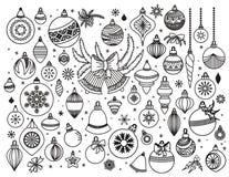 Insieme di scarabocchio dei decoratins di Natale royalty illustrazione gratis