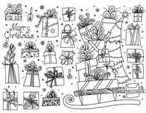 Insieme di scarabocchio dei regali di Natale royalty illustrazione gratis