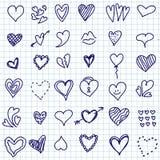 Insieme di scarabocchio del cuore Illustrazione Vettoriale
