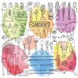 Insieme di scarabocchio del giardino della primavera Strumenti, piante watercolor Fotografie Stock