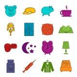 Insieme di scarabocchio delle icone di sonno Immagine Stock