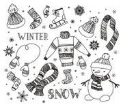 Insieme di scarabocchio di inverno royalty illustrazione gratis