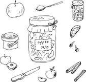 Insieme di scarabocchio per l'inceppamento della mela Immagini Stock