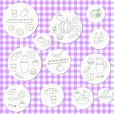 Insieme di scarabocchio di picnic di estate Vari pasti, bevande, oggetti illustrazione vettoriale