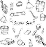 Insieme di scarabocchio di sauna Accessori di bagno disegnati a mano illustrazione vettoriale