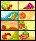 Insieme di scheda della frutta Fotografia Stock