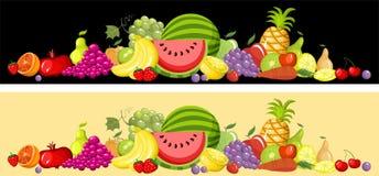 Insieme di scheda della frutta illustrazione vettoriale