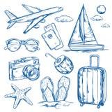 Insieme di schizzo degli elementi di viaggio royalty illustrazione gratis