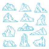 Insieme di schizzo dell'iceberg, clima del nord ed ambiente illustrazione di stock