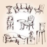 Insieme di schizzo della mobilia Fotografia Stock
