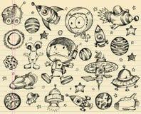 Insieme di schizzo di Doodle dello spazio cosmico Fotografie Stock Libere da Diritti