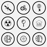 Insieme di scienza Icone in bianco e nero dell'insieme Fotografie Stock