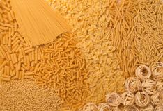 Insieme di selezione di struttura della pasta, fondo dei maccheroni di varietà Fotografia Stock