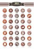 Insieme di 35 SEO Icon, retro stile, su fondo bianco Immagini Stock Libere da Diritti