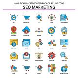 Insieme di SEO Marketing Flat Line Icon - progettazione delle icone di concetto di affari illustrazione vettoriale