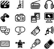 Insieme di serie dell'icona di media Fotografia Stock