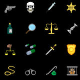 Insieme di serie di legge, di ordine, della polizia e dell'icona di crimine Fotografia Stock