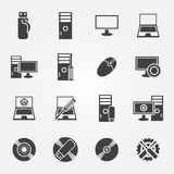 Insieme di servizio di riparazione del computer e dell'icona di manutenzione Fotografia Stock Libera da Diritti