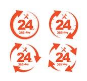Insieme di servizio 24Hr del cerchio della freccia un'icona da 365 giorni Fotografia Stock Libera da Diritti