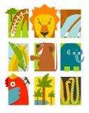 Insieme di simboli africano piano degli animali Fotografie Stock Libere da Diritti