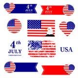 Insieme di simboli americano Priorità bassa del grunge di indipendenza Day il quarto luglio Bandierina degli S Fotografia Stock