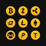 Insieme di simboli di Cryptocurrency Fotografia Stock Libera da Diritti