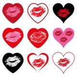 Insieme di simboli del cuore con il bacio Fotografie Stock