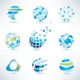 Insieme di simboli del globo, comunicazione ed icone astratti di tecnologia Immagini Stock Libere da Diritti