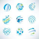 Insieme di simboli del globo, comunicazione ed icone astratti di tecnologia Fotografia Stock Libera da Diritti