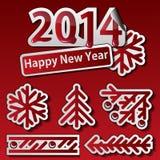 Insieme di simboli del nuovo anno 2014 Immagine Stock Libera da Diritti