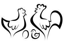 Insieme di simboli del pollo Fotografia Stock Libera da Diritti