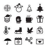 Insieme di simboli dell'icona di stagione invernale Fotografia Stock