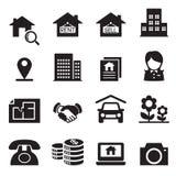 Insieme di simboli dell'illustrazione di vettore delle icone del bene immobile Immagini Stock