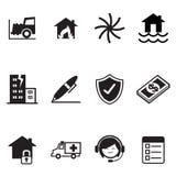Insieme di simboli dell'illustrazione di vettore delle icone di assicurazione Fotografie Stock