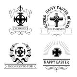 Insieme di simboli dell'incrocio di Pasqua con la croce religiosa illustrazione vettoriale