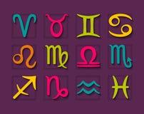 Insieme di simboli dell'oroscopo dello zodiaco Immagine Stock
