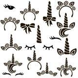 Insieme di simboli dell'unicorno illustrazione vettoriale