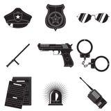 Insieme di simboli della polizia Immagini Stock
