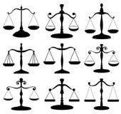 Insieme di simboli della scala di legge Immagine Stock Libera da Diritti
