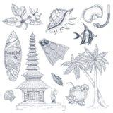 Insieme di simboli di balinese illustrazione di stock
