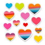 Insieme di simboli di carta del cuore di vettore illustrazione vettoriale