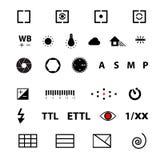 Insieme di simboli di funzione del menu della macchina fotografica Immagine Stock