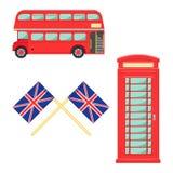 Insieme di simboli di Londra illustrazione di vettore del telefono del lindon su fondo bianco Fotografia Stock Libera da Diritti