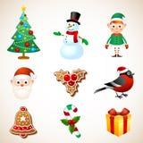 Insieme di simboli di Natale Immagini Stock